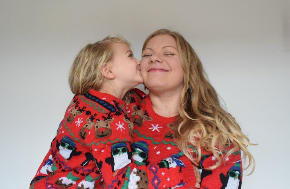 Special kisses from Squidgy for mummy in Christmas jumpers