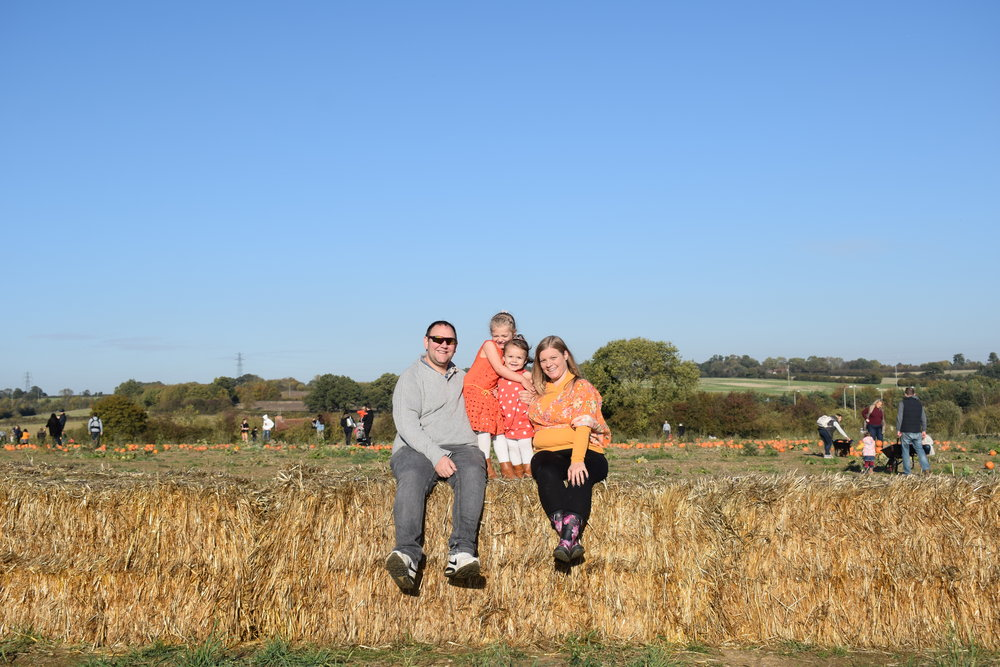 Me Becoming Mum family photo at the The Pop-Up Farm pumpkin patch