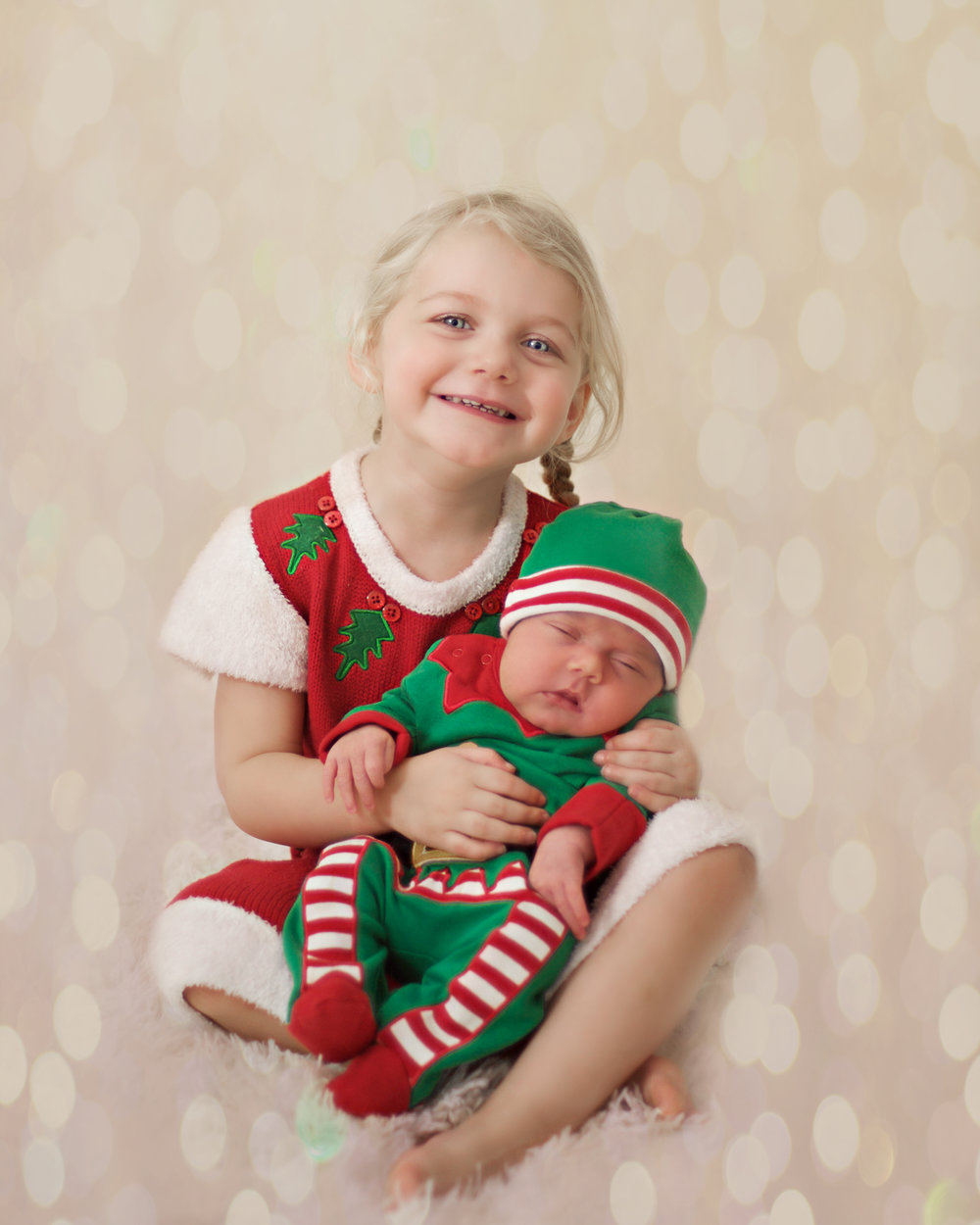 Squidgy and Pickle Christmas photoshoot Santa dress and baby elf
