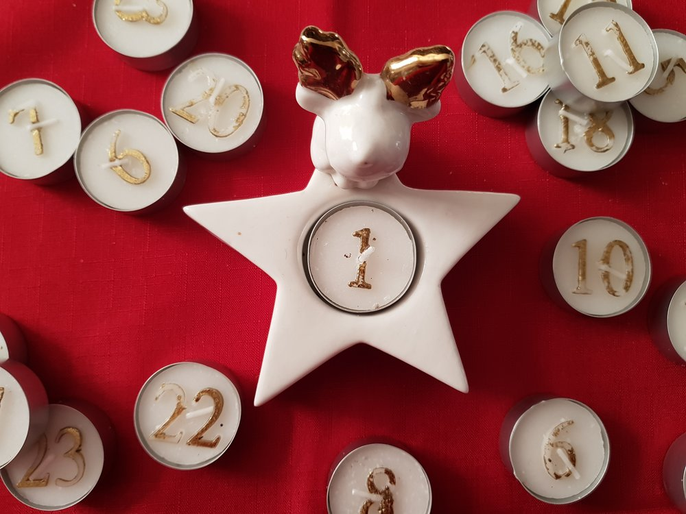 Counting down to Christmas with advent candles