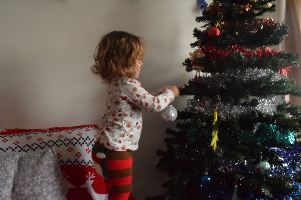 Pickle decorating the Christmas tree