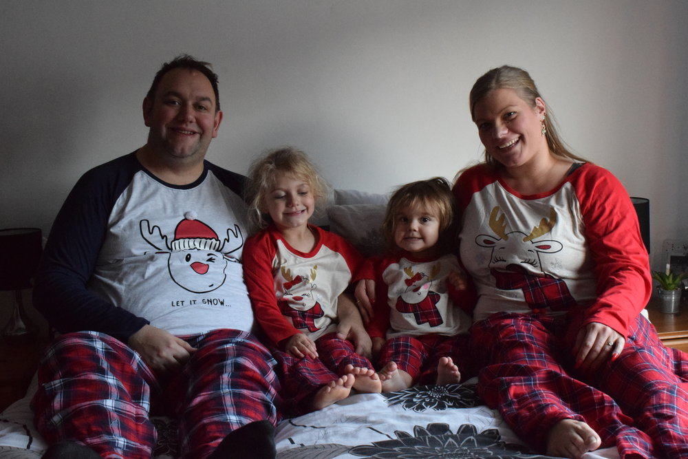Matching Christmas reindeer pyjamas from Primark