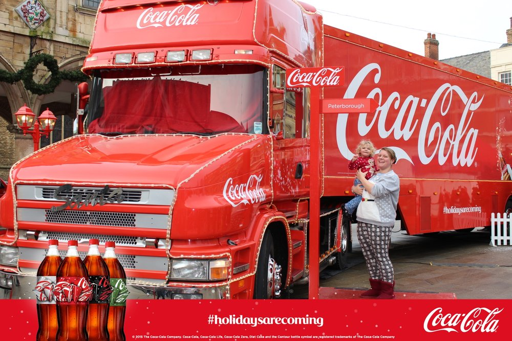 Visiting the Coca Cola truck in Peterborough Cathedral Square