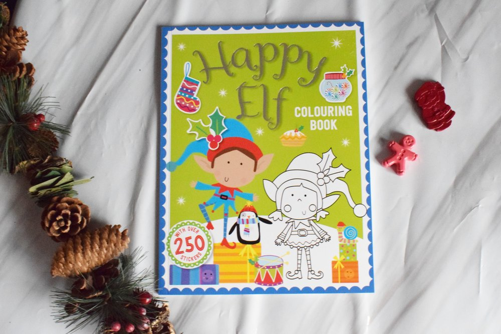 Elf colouring and sticker book and Christmas crayons