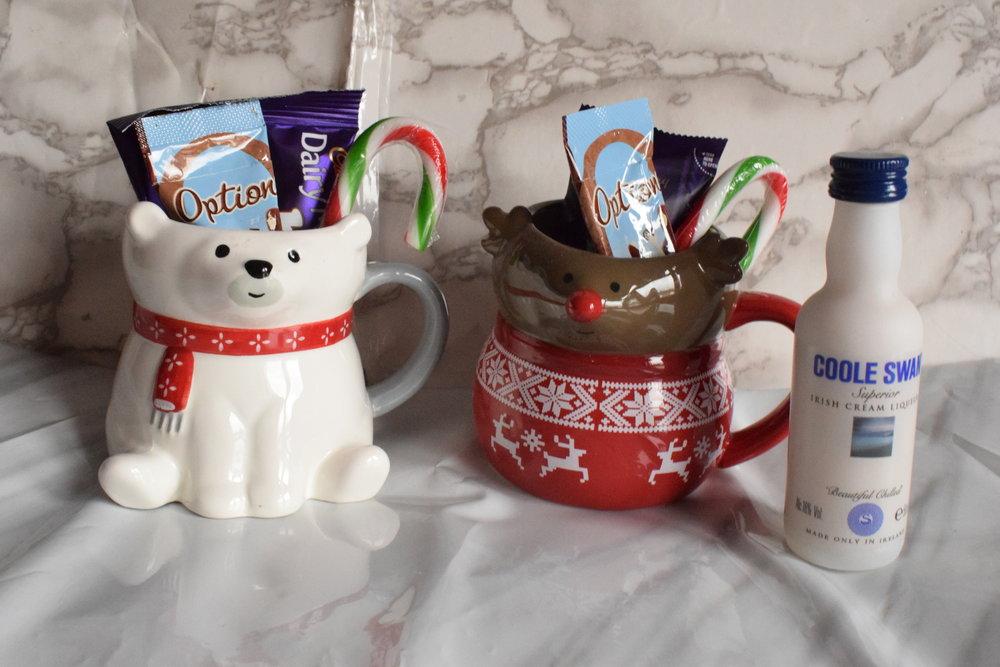Christmas mugs with hot chocolate