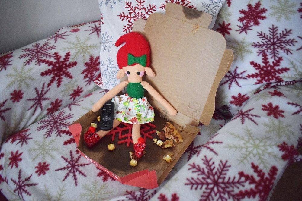 Elf on the Shelf Pizza and Popcorn Night