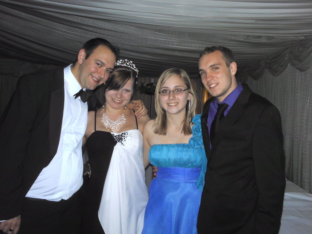 John and I at my high school prom with friends