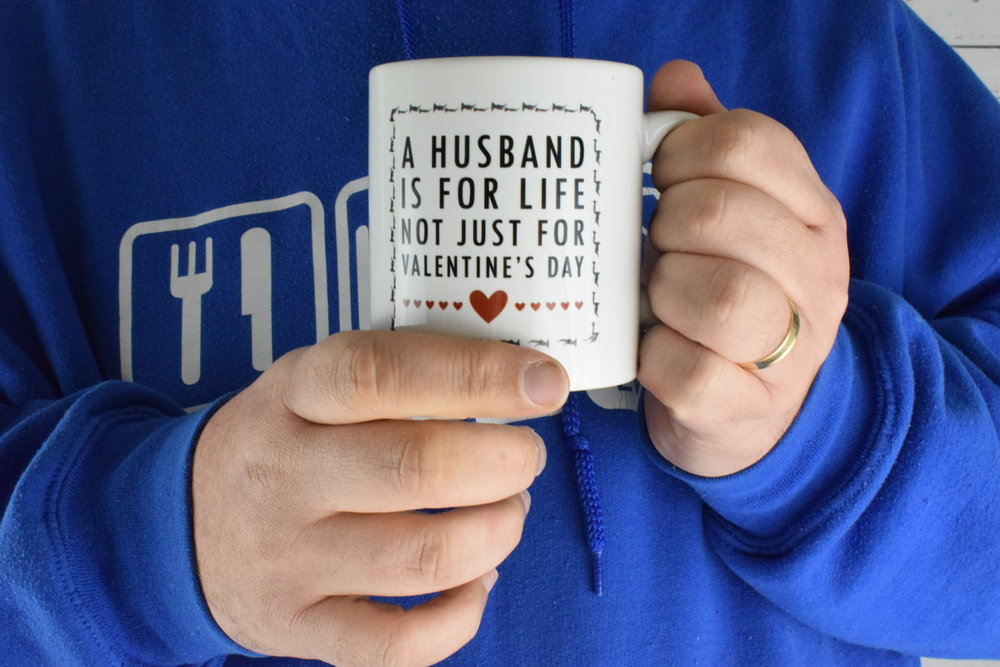 "2019 Valentine's Day gifts personalised ""A husband is for life"" mug from The Gift Experience"
