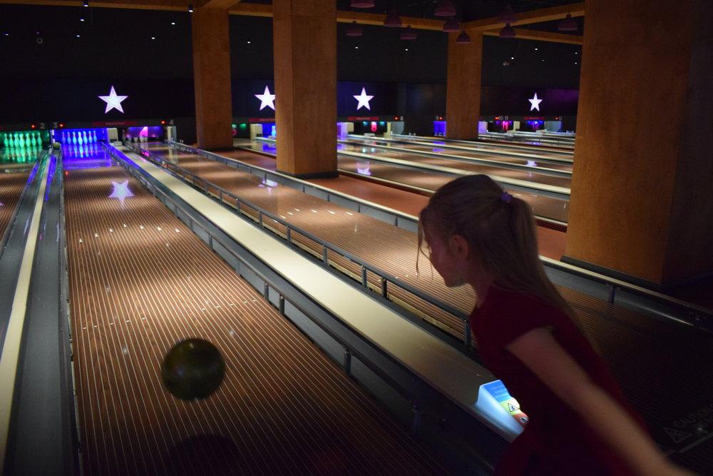 Squidgy bowling at Hollywood Bowl, Intu Watford