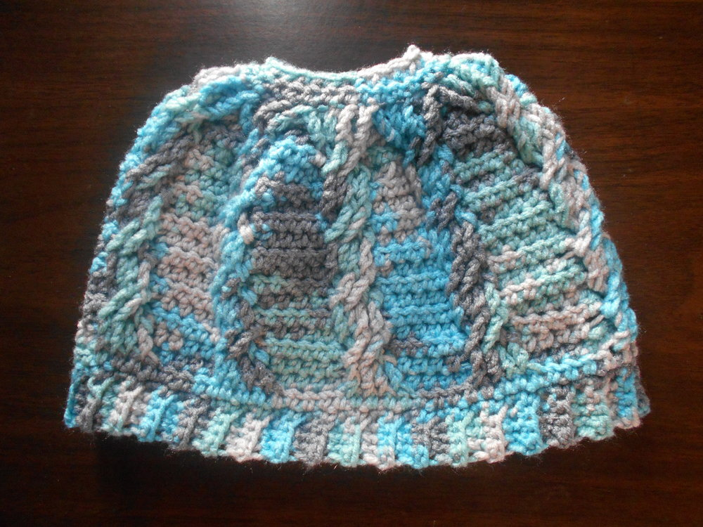Cabled Messy Bun Beanie Free Pattern High Strung Crochet