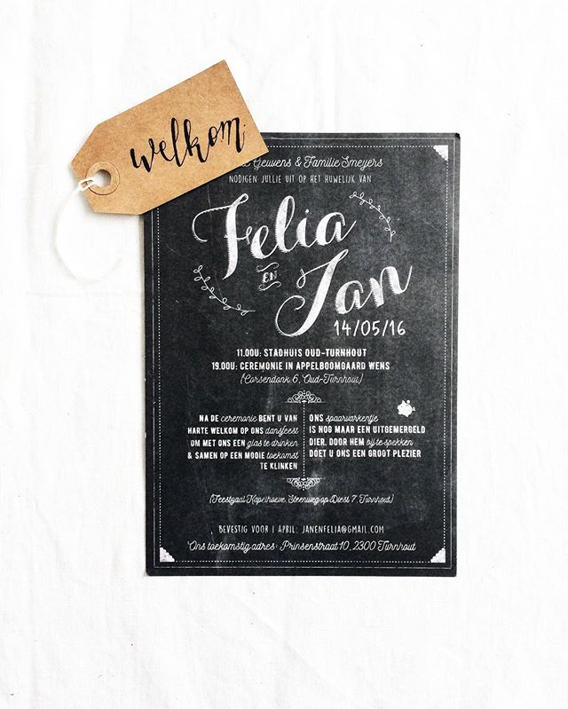 Felia, Jan, a whole lot of love and a chalkboard wish. Also included; a serious deadline. We managed to design this one from scratch within two days after they contacted us so their wedding guests could receive their invitation just in time. (_We sometimes really do eat deadlines for breakfast.) #hasselt #hermân #design #graphic #graphicdesign #vormgeving #art #creative #creativity #inspiration #typography #chalkboard #lettering #chalkboardlettering #calligraphy #wedding #branding #invitation #weddinginvitation #business