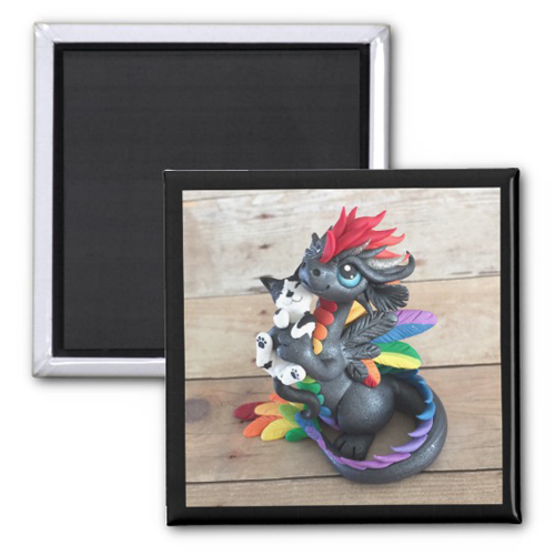 Dragon with Kitty Friend Sculpture Magnet - $3.75