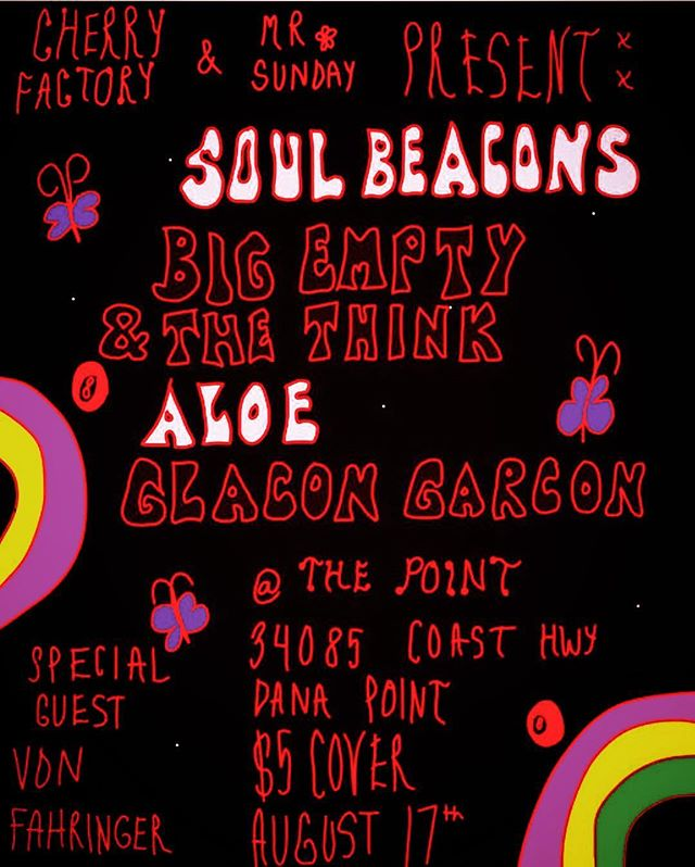 Tomorrow! The Soul Beacons bring the funk to Dana Point, check your troubles at the door because it's time to get up and get down! #funk #soul #vinylrecords #hammondorgan #thesoulbeacons #danapoint #mrsundayproductions