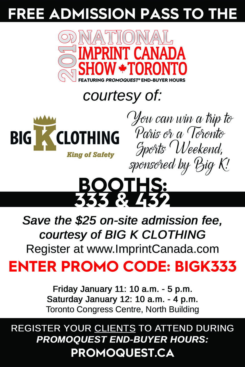 Big K Toronto Imprint Show Free Pass 2019
