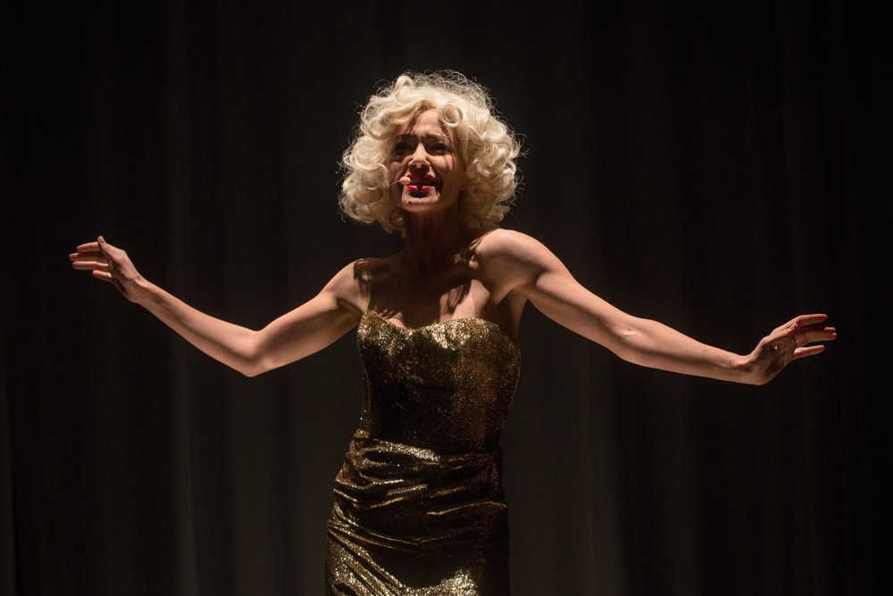 November 30th, 2017: Marilyn Monroe played by Vera Dragone in the Italian production of Love Is Blonde at Astra Theater, Turin, Italy.  Director: Cristina Pezzoli – Production: Stagione TPE – With the support of Fondazione CRT