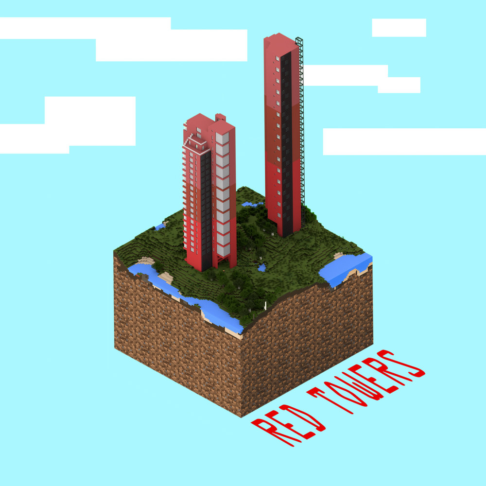 Red towers - minecraft render