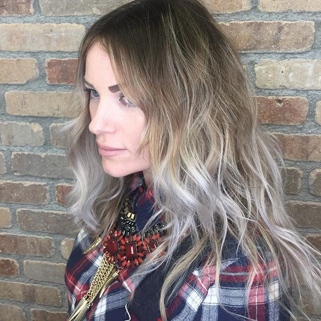 When your beautiful client comes back from Russia with a bad ombré.....you fix it!  #hushhushbangbang  #ombre #whitehair #darkroots #ocstyle #lahair #prettyhair #style #ocstylist