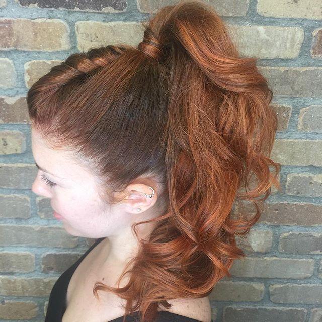 Ponytail fun! #hushushbangbang  #redhead #ponytail #wedding #mylittlepony #twists #bighair #summer