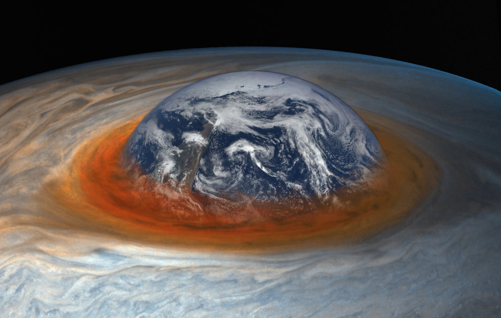 Earth and the Great Red Spot to scale. Photo Credit: NASA/SwRI/MSSS/Gerald Eichstädt/Seán Doran/Flickr