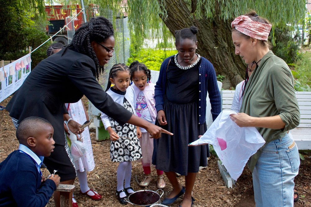 Natural plant dyeing workshop at Imani Community Garden under the willow tree.