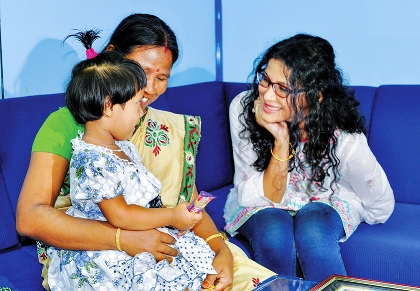 With patients at the Kolkata center