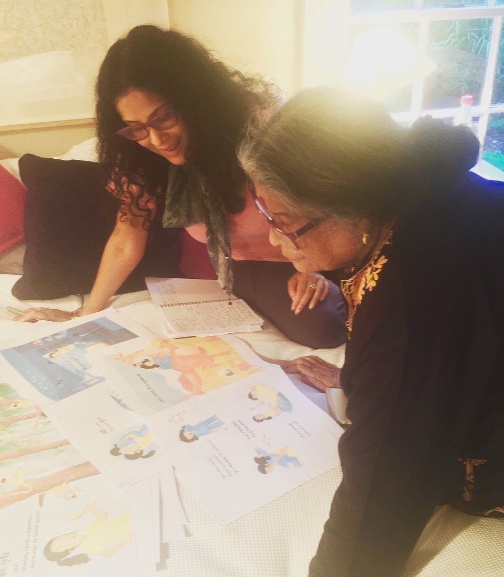 Nandana and her poet mother Nabaneeta Dev Sen pore over the proofs of  Kangaroo Kisses , in Essex, UK