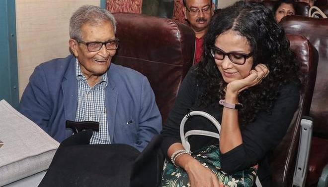 Amartya Sen with his daughter Nandana Sen. | Photo Credit:   PTI    The Hindu  August 26, 2018