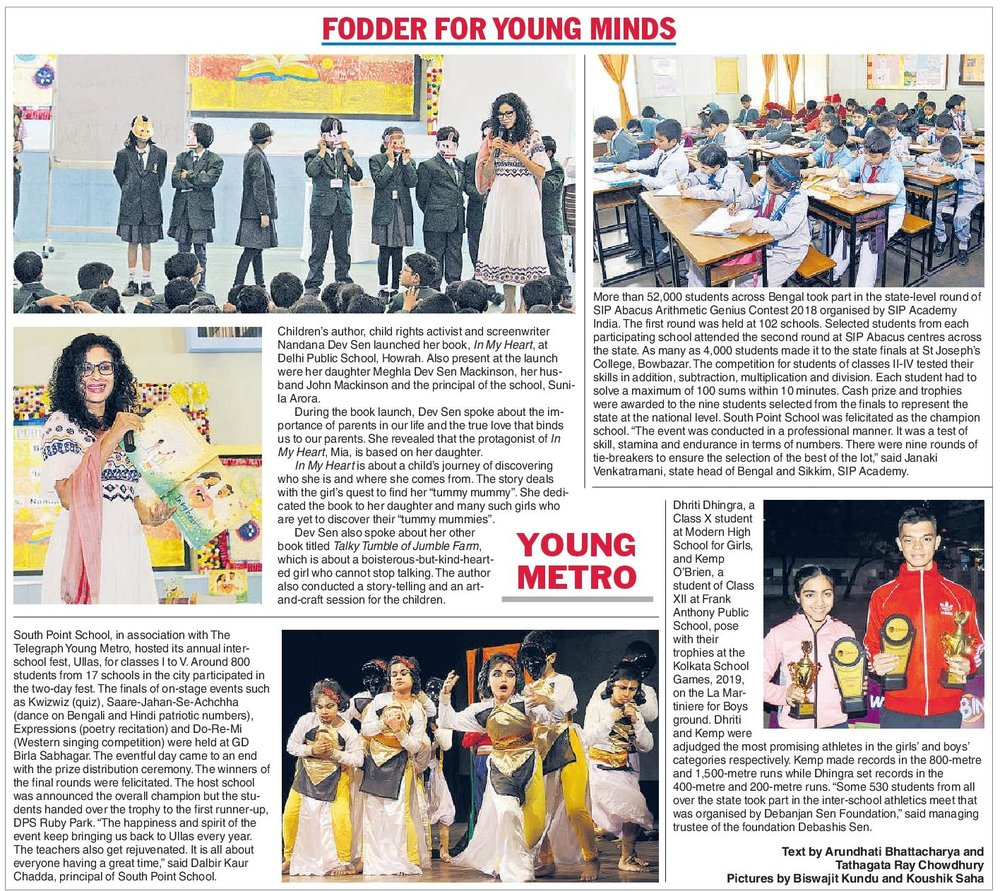 Fodder For Young Minds  Telegraph India February 4, 2019