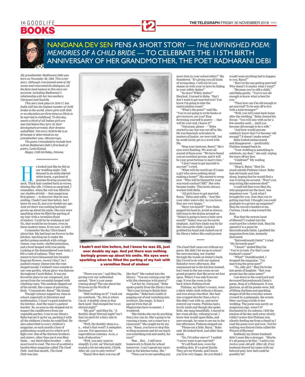The Unfinished Poem: Memories of a Child Bride  - click here for Part I  Telegraph India November 30, 2018