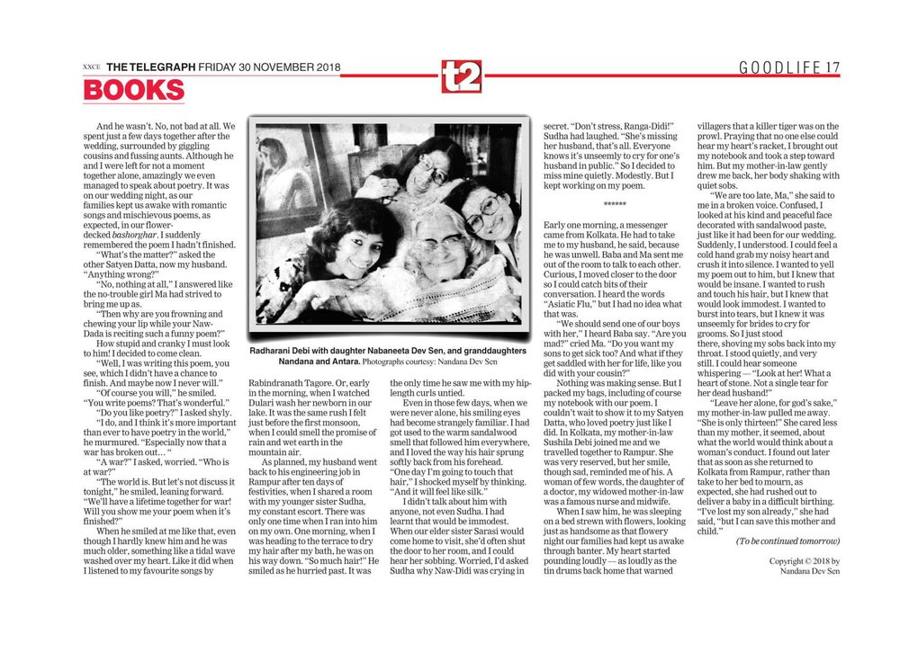 The Unfinished Poem: Memories of a Child Bride  - click here for Part II  Telegraph India November 30, 2018