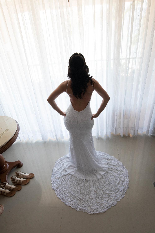 bride in wedding dress before wedding