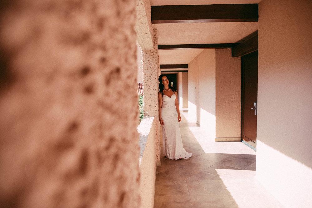 bride getting ready in Mexico wedding