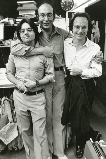 New York Magazine office, circa 1966. Walter Bernard, Milton Glaser and James McMullan.