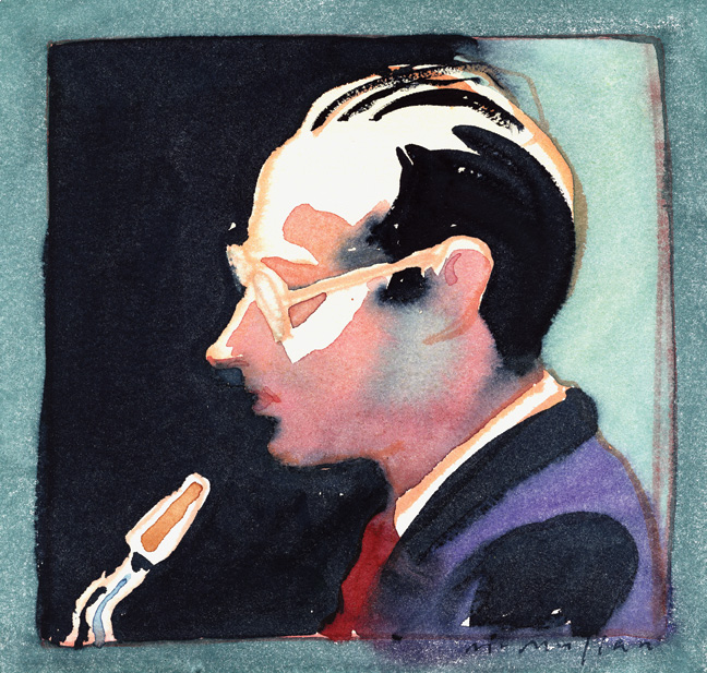Paul Desmond portrait. James McMullan's album artwork for Late Lament by Paul Desmond (1990 Bluebird RCA). Courtesy of James McMullan.