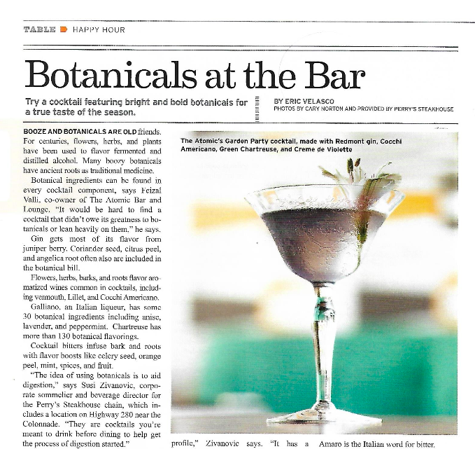 BOTANICALS AT THE BAR    Birmingham Magazine, April 2017     Read More