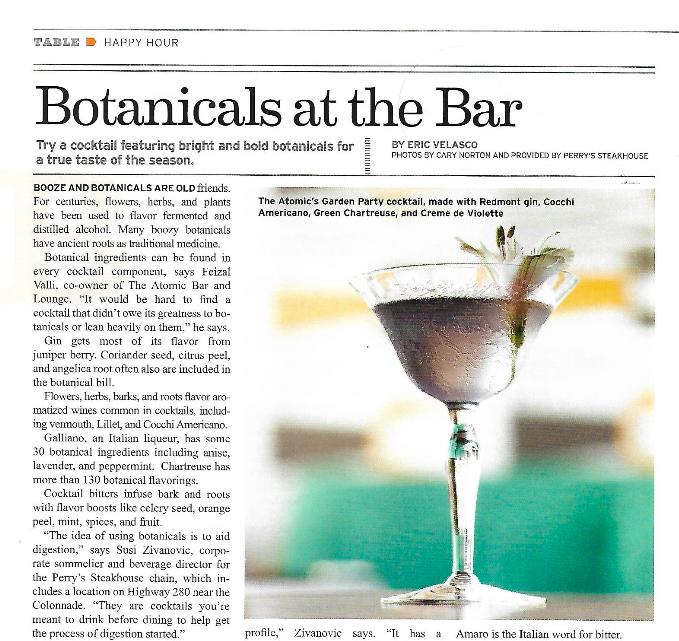 BOTANICALS AT THE BAR Birmingham Magazine, April 2017 Read More