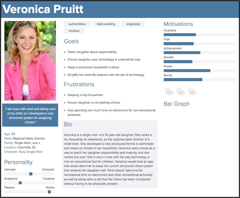 One of our personas for the busy single mother user (click to enlarge)