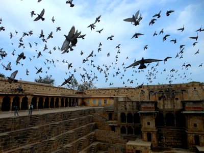 """The Abhaneri Stepwell is seen in the film """"Best Exotic Marigold Hotel"""""""
