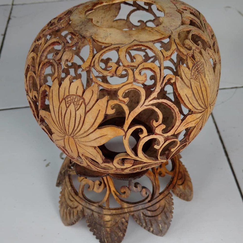Hand carved coconut candle holder from Bali