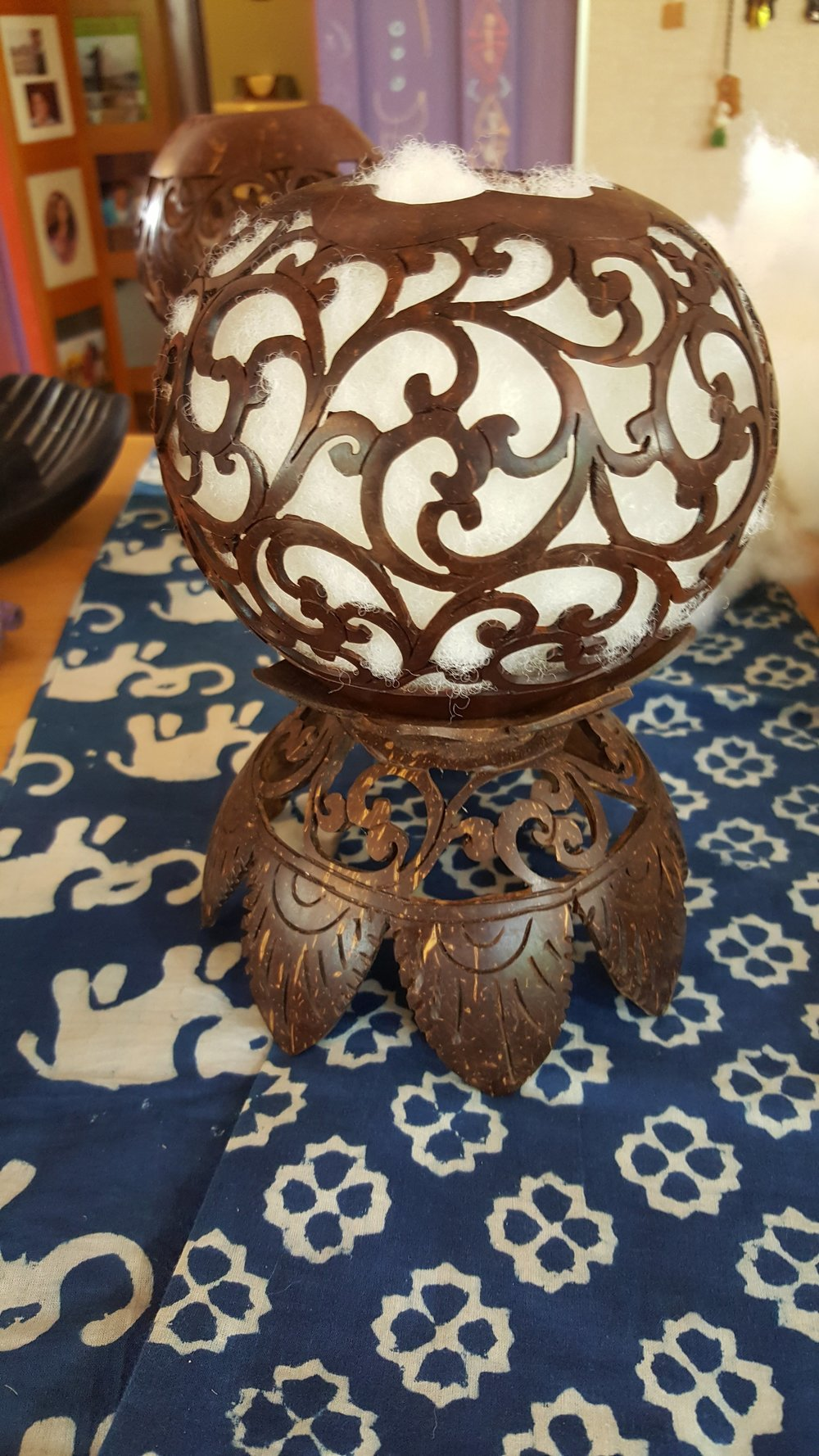 Hand Carved Coconut candle holders