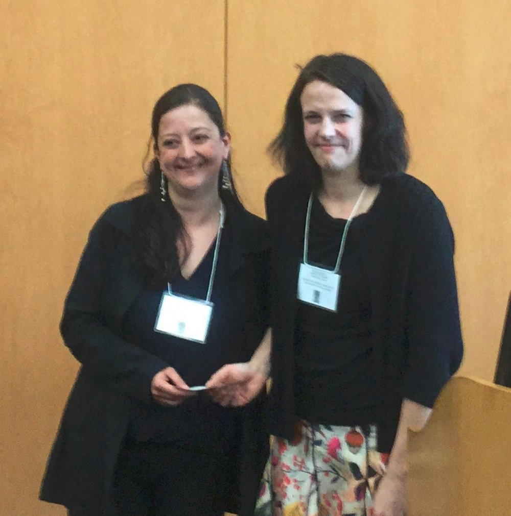Adriana Rincón, doctoral student in global governance and human security at the University of Massachusetts Boston, receives a Turner Travel Grant award from MACLAS President Meghan McInnis-Domínguez.