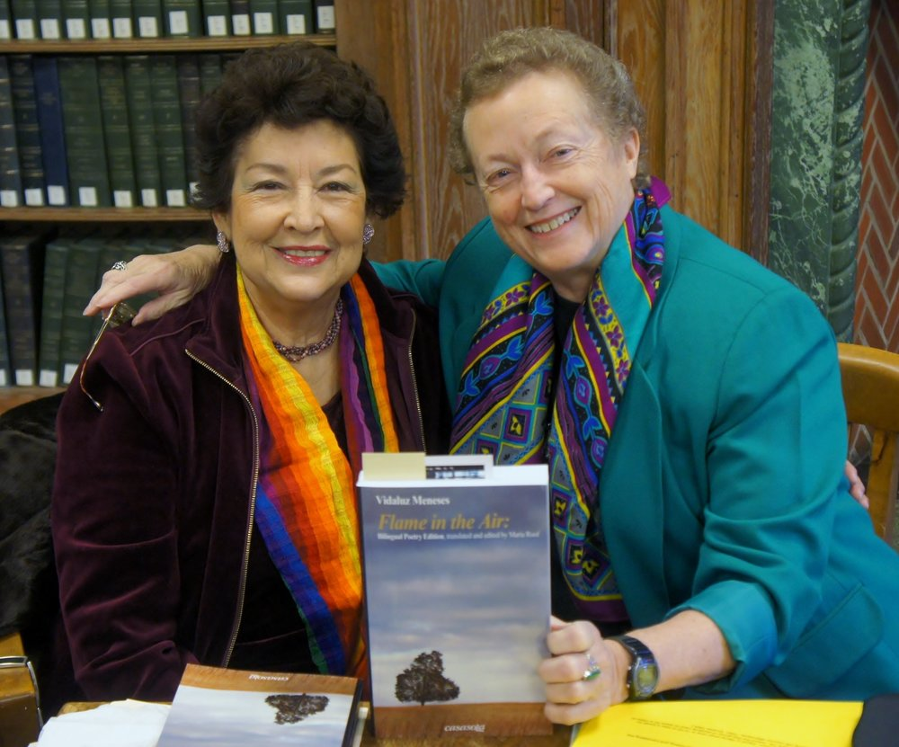 Vidaluz Meneses and Maria Roof celebrate publication of their book at Allegheny College, February 2015.