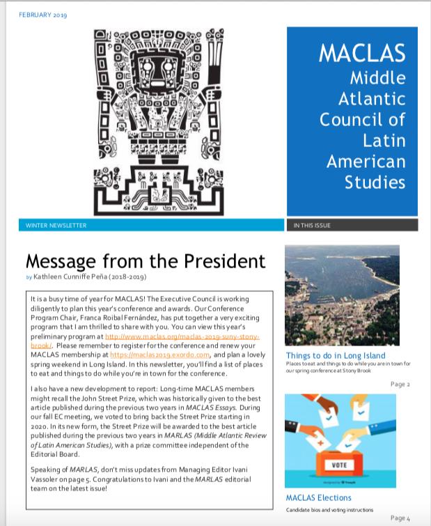 MACLAS Newsletter Winter 2019