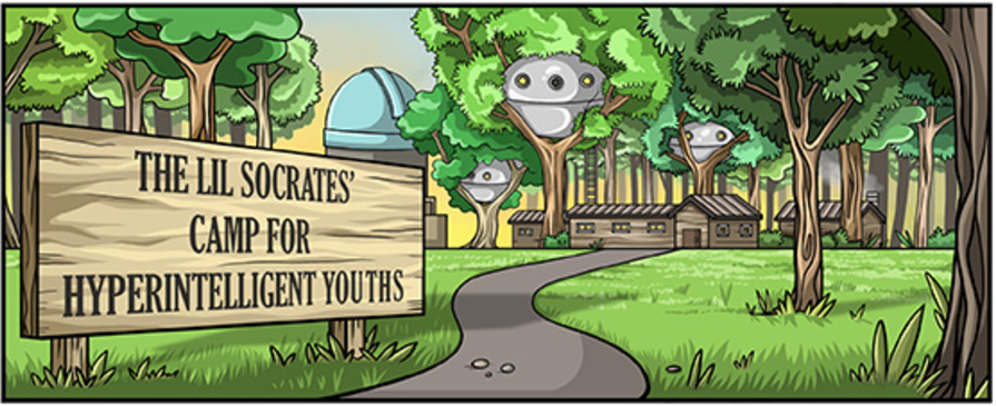 "Illustration showing a futuristic camp and a sign that says, ""The Lil Socrates' Camp for Hyperintelligent Youths."""