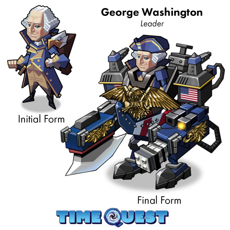 An illustration of the first and final form of George Washington, one of the leaders in Time Quest: Heroes of History, a strategic RPG.