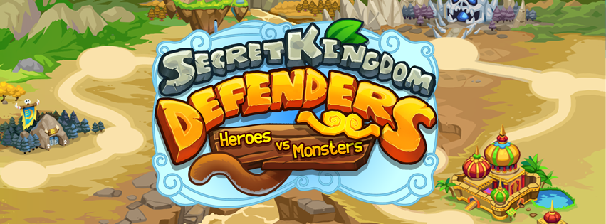 Secret Kingdom Defenders: Heroes vs Monsters map and logo
