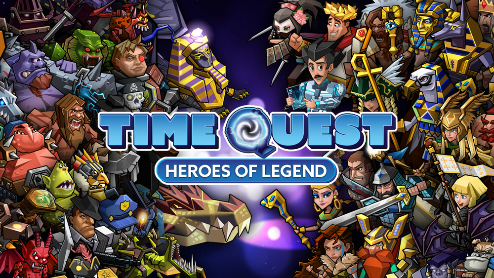 "Time Quest: Heroes of History ""Join the Free Beta"" illustration poster."