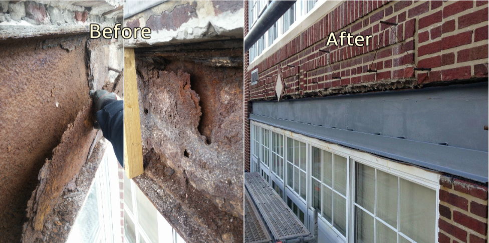 Window Lintel Beam Repair. Carteret, NJ