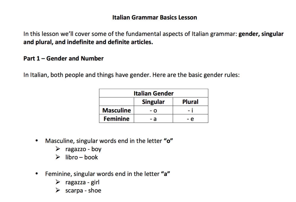 Italian Gender, Quantity, & Articles Learning Resource + Exercise