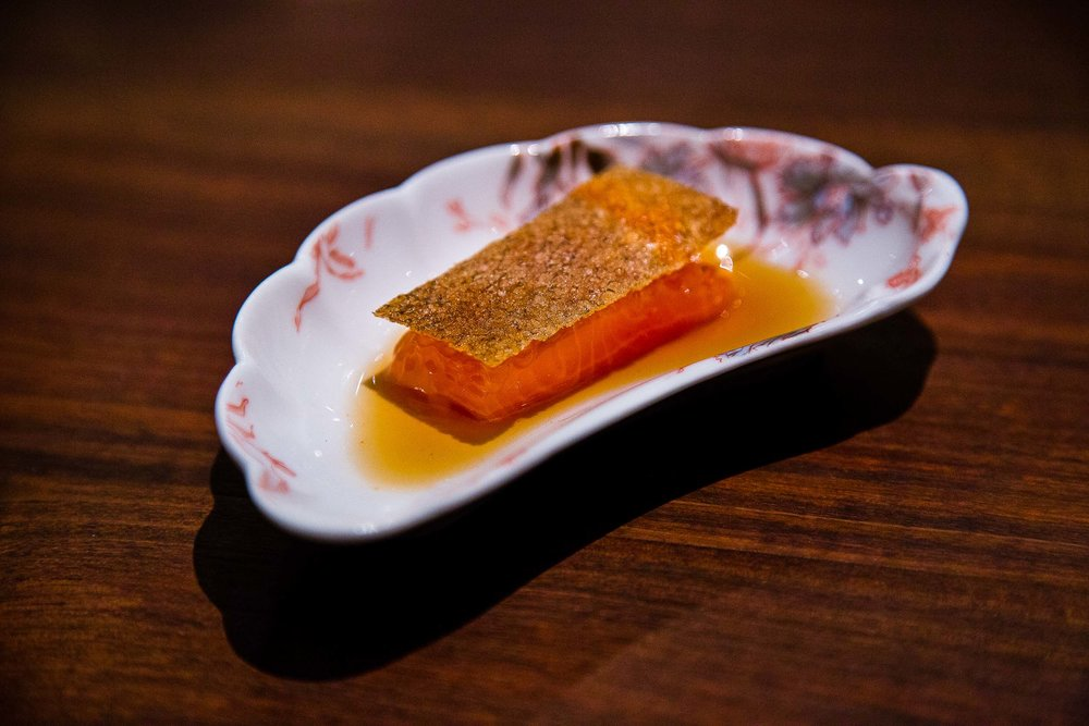 Trout with roe and skin.